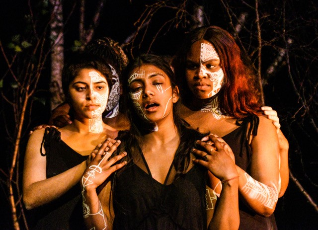 Three performers from the production BAME Medea