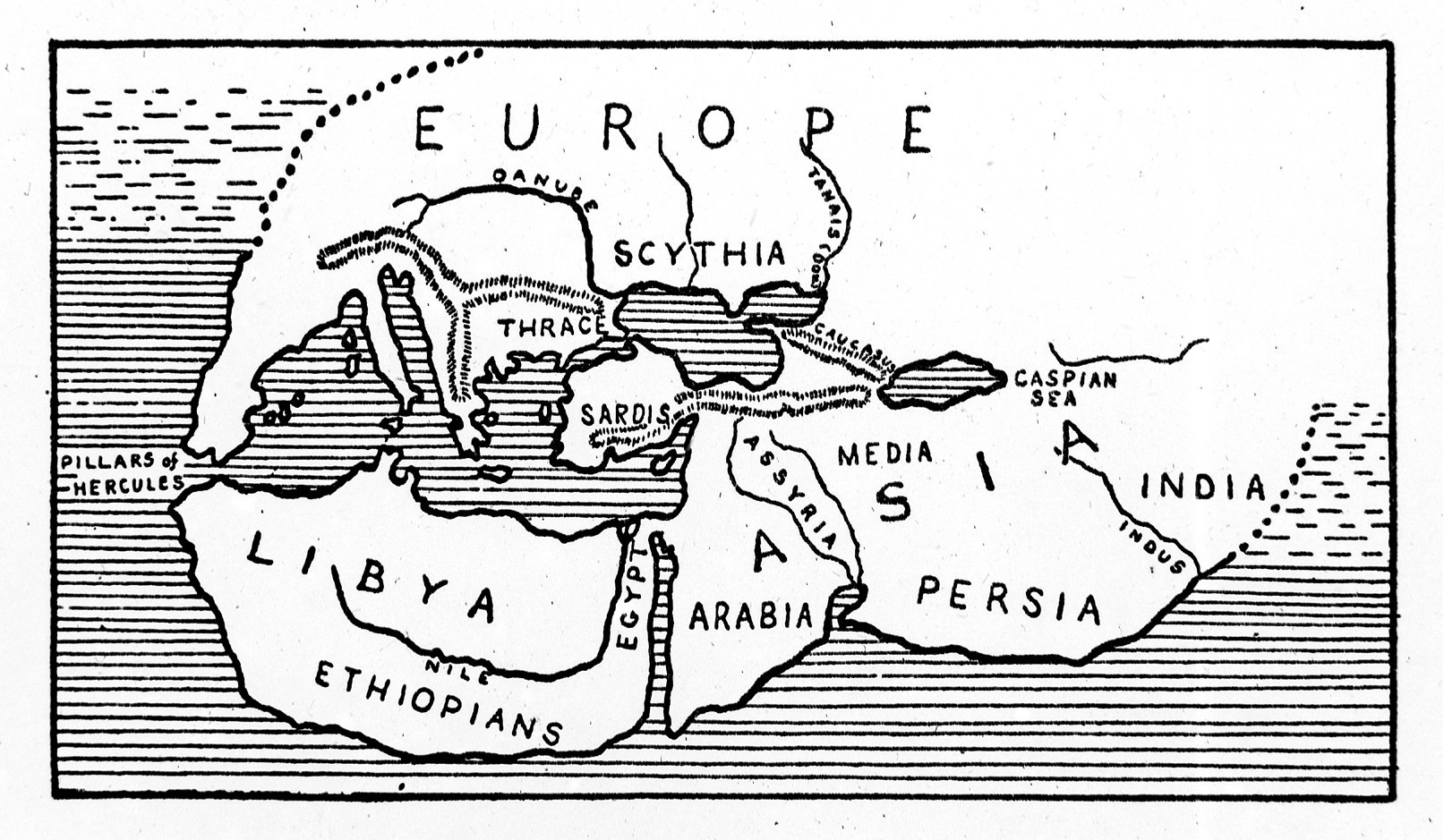 Line drawing map of the world according to Herodotus