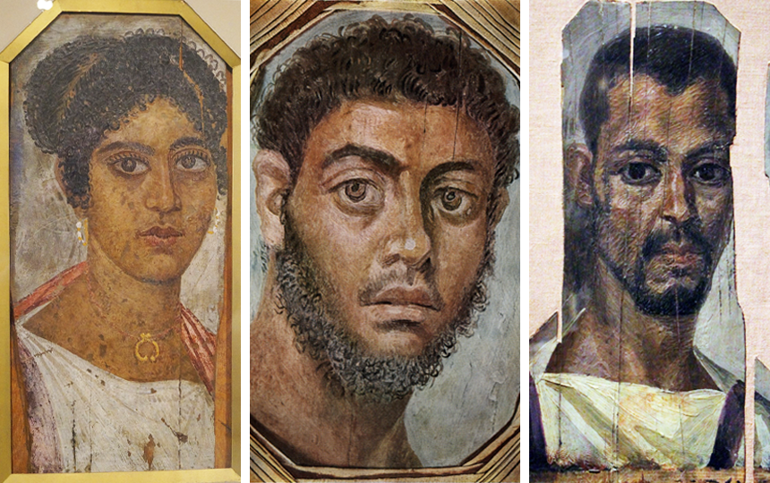 A montage of three of the Fayum mummy portraits, depicting a finely-dressed woman, a bearded man and a man in a tunic with purple stripes.